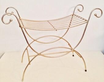 vintage brass bench - mid century vanity bench - Hollywood Regency