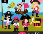 Pirates, Ships and Treasure Island Clipart – Girls Instant Download Pirate graphics