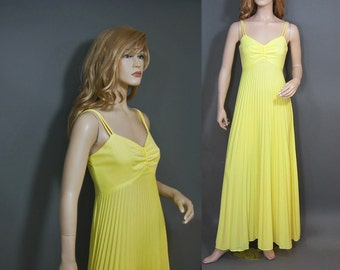 Vintage 70s Dress Yellow Accordion Pleat Skirt Maxi Prom Party Dress M