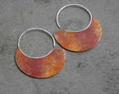 Big Urban Hoops - Rusty Patina - handmade copper silver XL hoops, organic, red, golden,  made in Italy
