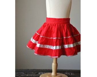 ON SALE~1950s Full Circle Skirt in Fire Red~Size 6 Months