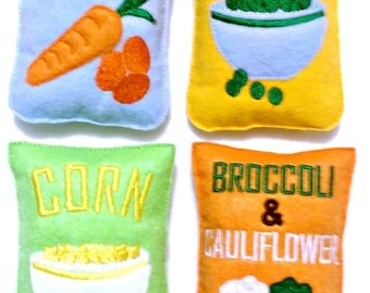 Play pretend felt frozen vegetable buy 1 or complete set of 4 carrots, corn, peas, and broccoli & cauliflower #PF2542