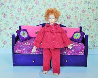 Dollhouse Miniature Hand Knit Woman's Pink Pajama's