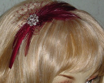 Burgundy Feather Fascinator Headband with Rhinestone Sparkle and French Veiling