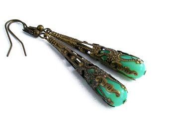 Opalized Green Jade Glass Drop Earrings Wrapped in Bronze Filigree