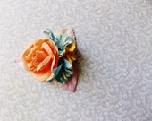 Apricot Sky Blue Yellow Cream Roses Lilies Handmade Millinery Corsage baby kids hair bow headband ooak clip supply Vintage Style Flowers