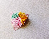Sugar Pink Golden Yellow Aqua Roses Lilies Handmade Millinery Corsage baby kids hair bow headband ooak clip supply Vintage Style Flowers