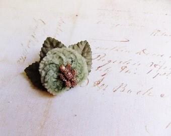 Sage Moss green Gold Millinery Flower Brooch ~Velveteen Chenille Rosette pin, glass beaded stamens, velvet wedding accessory Victorian trim