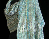 Handwoven Shawl Bamboo Wrap Ships Priority Mail in USA - Aqua Pool