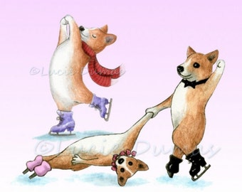 Digital Download Graphic Image Clipart Dog 57 59 Corgi Ice Skating Cute funny art by Lucie Dumas