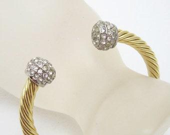 Vintage Rhinestone Cuff Bracelet Costume Jewelry B6589