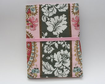 Notepad Organizer - Army Green and Pink Paisley Fabric (Notepad Included)