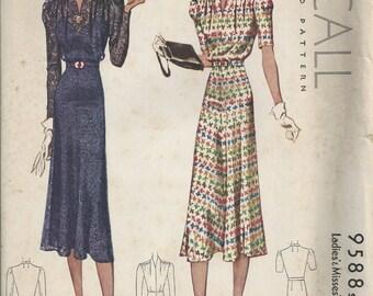 RARE 30s McCall 9588 Womens Dress Pattern Bust 38