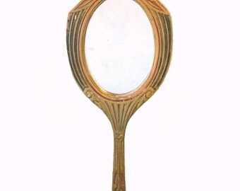 Art deco vanity hand mirror - Art nouveau - Painted wood and gesso - 1920s
