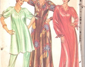 Butterick 3557 1970s Misses Pullover V Neck CAFTAN Tunic Pants Pattern Knot Sleeve Womens Vintage Sewing Pattern Size Small Bust 31 32 UNCUT