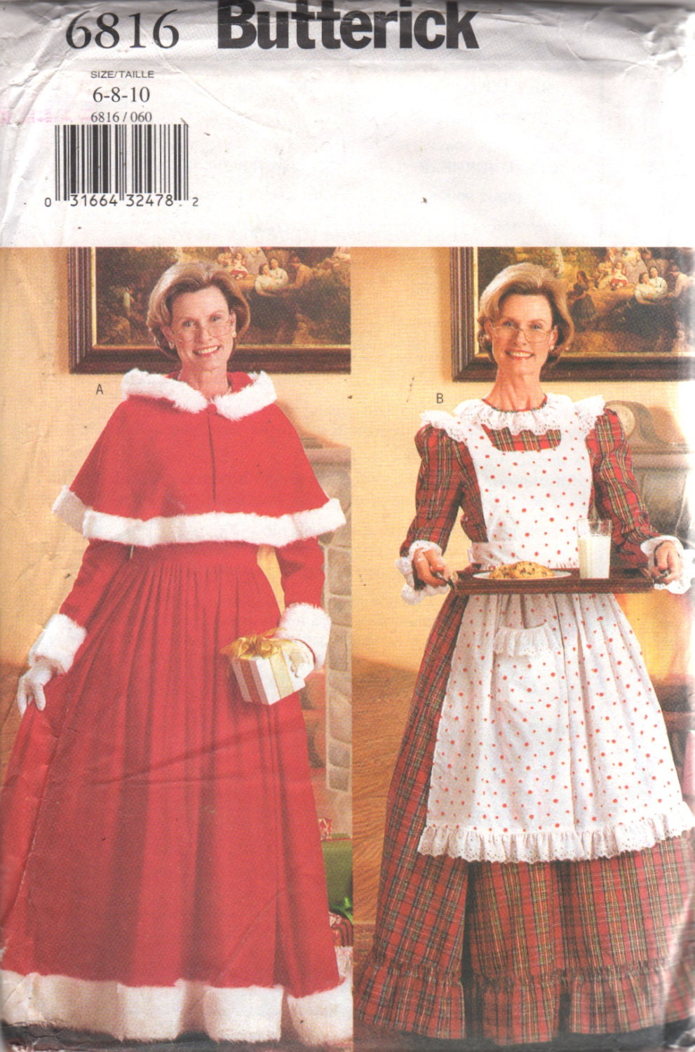 Butterick 6816 Misses Mrs Claus Costume Pattern Maxi Dress