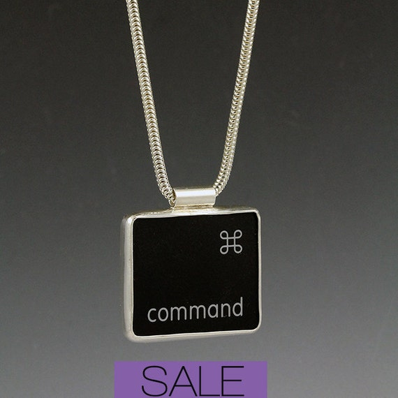 SALE - Computer Key Jewelry - rePURPOSED Apple Mac Command Key v2 Pendant with Sterling Snake Chain