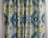 "Blue Ikat Window Curtains, Blue Curtain Panels, Medallion Curtains, Rod-Pocket Curtains, Custom Ikat Window Treatments, One Pair Custom 50""W"