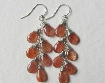 Sunstone Earrings Long Dangles Gemstone Jewelry Sterling Silver - Long Layer Earrings 7