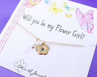 Flower girl gift, personalized necklace for flower girl or junior bridesmaid, Be my flower girl, necklace for little girl, Otis b jewelry