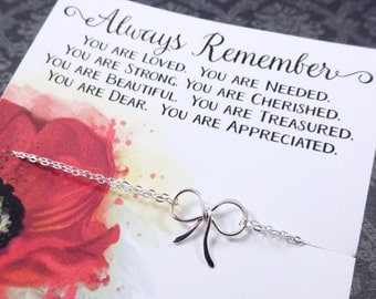 Friendship necklace with Friendship card, Silver bow necklace, Best friend gifts, reminder, don't forget, Friendship jewelry, otis b