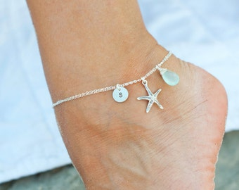 PERSONALIZED ANKLET with starfish charm, Initial & Birthstone, Custom sterling silver ankle bracelet, Otis B, Bridesmaid gift, beach wedding