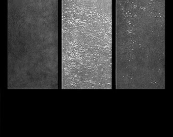 ABSTRACT PAINTINGS original contemporary triptych art modern contemporary metallic silver fine art painting from Carol Lee Art Studio