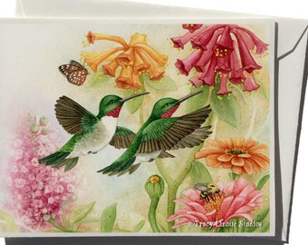 Hummingbird Garden III Greeting Card by Tracy Lizotte
