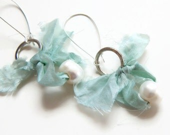 Long fresh water pearl and sari ribbon earrings