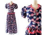 Vintage 40s Dress / Hat Print / 1940s Dressing Gown / Seersucker Dress / S M