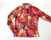 Vintage Floral Blouse / Secret Garden / 1970s Blouse / Photo Print Top / Medium M