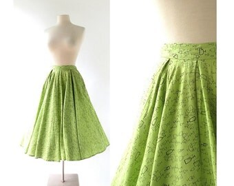 1950s Circle Skirt / Apertif / Novelty Print Skirt / 50s Skirt / 26W