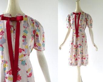 Vintage 30s Dress / 1930s Day Dress / Floral Print Dress / Small S