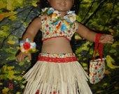 AMERICAN girl KANANI hula grass skirt costume, flowered LEI, headband,ankle and wrist flowered band, original, by granmafrancie