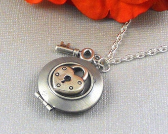 Silver Key Lock Locket, Silver, Locket, Key, Lock, Key Locket, Lock Locket, Love, Wedding Jewelry- AURA
