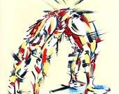 Yoga Art -- Acrylic Painting, Wheel Pose