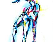 Yoga Art -- Acrylic Painting, Stumbling into Half Moon