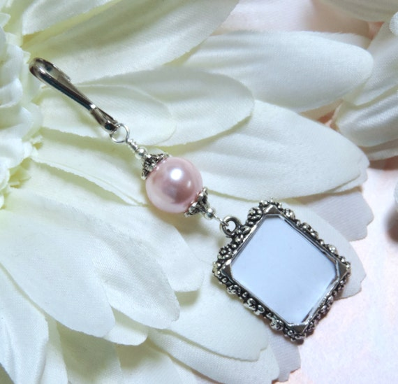 charm memorial photo charm with pink pearl bridal bouquet charm diy