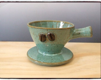 Second Sale-Beautiful Turquoise Coffee Dripper/Single Coffee Maker/Single Coffee Brewer with Coffee Bean by misunrie