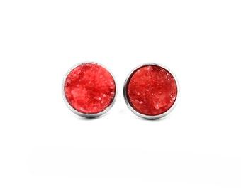 Red Druzy Studs, Stainless Steel Studs, Druzy Stud Earrings, Drusy Posts, Faux Druzy, Silver Stud Earrings, Red Earrings, Ruby Studs
