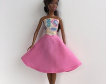 Barbie Handmade Doll Clothes Dress Pink Blue Strapless