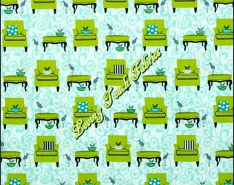 """Robert Kaufman """"Perfectly Perched"""" #12848 Chairs Tables Birds Cotton Fabric Priced Per 1/2 Yd."""