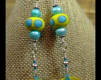 BirdDesigns Sterling Silver and Handmade Lampwork Earrings - ooak - J759
