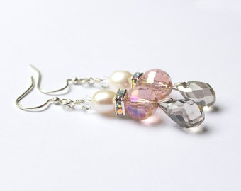 Blush wedding earrings - sparkly earrings - blush, grey and pearl rhinestone earrings - sterling silver earrings - bridesmaids jewelry