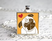 Pug Love Pendant Necklace with Paw Print Organza Bag