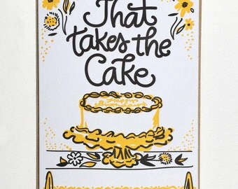 """Birthday """"That Takes The Cake"""" Letterpress Card"""