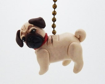 Pug Fan Pull Chain - Puppy Dog Nursery - Dog Themed Room - Polymer Clay