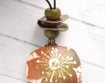 Polymer Clay Pendant Square Shape featuring Tropical  Bohemian Rust, Gold and White Batik Flower Beach Design