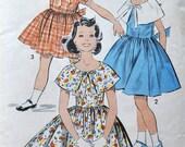 Advance 8980 - Adorable Girls' / Tweens' 1950s Dress Pattern - Full Skirt & Several Collar Options - Size 12