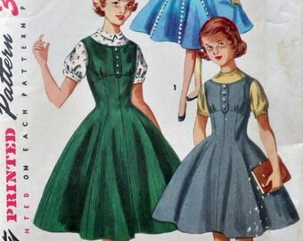 Simplicity 1291 - Gorgeous Tween Girls' Jumper Dress, Sundress, Full-Skirt Dress and Blouse - Princess Seams - Beautiful - Size 10